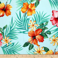 Trans-Pacific Textiles Tropical Flowers Wall Aqua