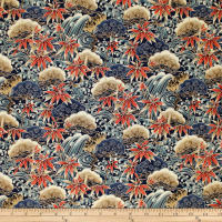 Trans-Pacific Textiles Asian Bamboo Leaves Navy