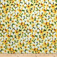 Trans-Pacific Textiles Tropical Plumeria Yellow