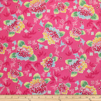 Trans-Pacific Textiles Asian Bouquet Fuchsia