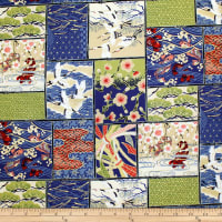 Trans-Pacific Textiles Asian Patch Blocks Navy