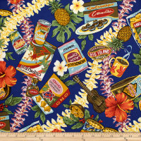 Trans-Pacific Textiles Hawaiian Snacks Navy