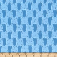Michael Miller Minky Bigfoot Boogy Bigfoot Print Blue