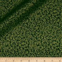 QT Fabrics Basics Holiday Metals Scroll Blender Forest/Metallic Gold