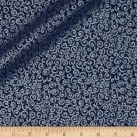 QT Fabrics Basics Holiday Metals Scroll Blender Navy/Metallic Silver