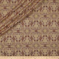 QT Fabrics Basics Luminous Lace Medallion Blender Metallic Wine