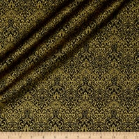 QT Fabrics Basics Luminous Lace Chevron Brocade Blender Metallic Black