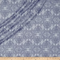 QT Fabrics Basics Luminous Lace Medallion Blender Metallic White/Navy