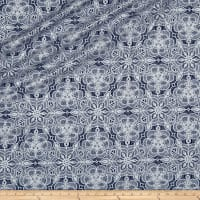 QT Fabrics Basics Luminous Lace Medallion Blender Metallic Navy