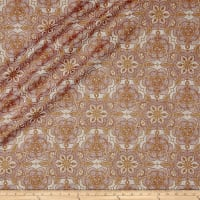 QT Fabrics Basics Luminous Lace Medallion Blender Metallic Cream/Wine