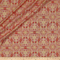 QT Fabrics Basics Luminous Lace Medallion Blender Metallic Red