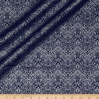 QT Fabrics Basics Luminous Lace Chevron Brocade Blender Metallic Navy