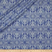 QT Fabrics Basics Luminous Lace Medallion Blender Metallic Royal