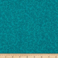 QT Fabrics Basics Harmony Cotton Curly Scroll Blender Marine