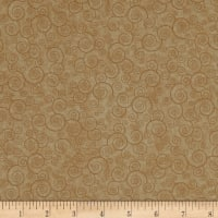 QT Fabrics Basics Harmony Cotton Curly Scroll Blender Camel