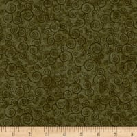 QT Fabrics Basics Harmony Cotton Curly Scroll Blender Moss