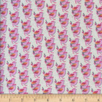 Printed Flannel Birds Ivory