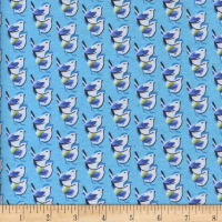 Printed Flannel Birds Turquiose