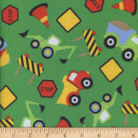 Printed Flannel Construction Zone Green