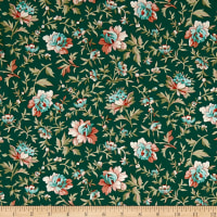 QT Fabrics Antiquities Bethel Packed Floral Teal