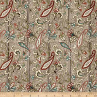 QT Fabrics Antiquities Bethel Paisley Stripe Tan