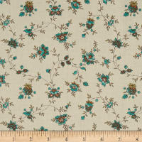 QT Fabrics Antiquities Bethel Spaced Floral Vine Cream