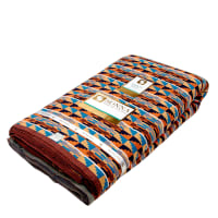 Ribbon Kente African Print 12 Yards Orange/Blue