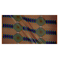 Supreme Basin African Print Broadcloth 6 Yards Blue Green/Orange