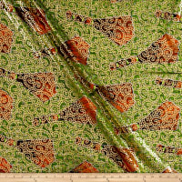 Supreme Osikani African Print Broadcloth 6 Yards Metallic Green/Orange