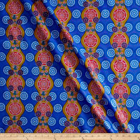 Supreme Fancy African Print Broadcloth 6 Yards Blue/Tan