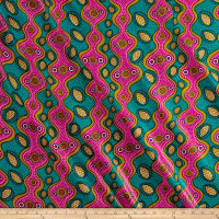 Supreme Fancy African Print Broadcloth 6 Yards Pink/Teal