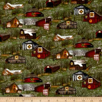 Riverwoods Quilt Barns & Bridges Green Multi