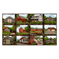 "Riverwoods Quilt Trails Landscape 24"" Panel Brown"