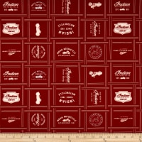 Riley Blake Indian Motorcycle Patches Red