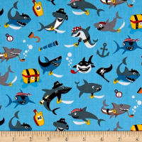 Riley Blake Pirates Life Shark Attack Blue