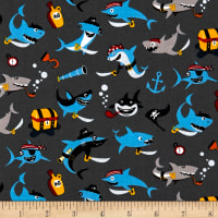 Riley Blake Pirates Life Shark Attack Gray