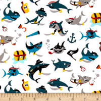 Riley Blake Pirates Life Shark Attack White