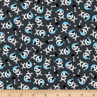 Riley Blake Pirates Life Skulls And Swords Gray