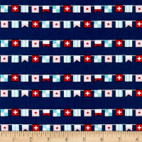 Riley Blake Seaside Flags Navy