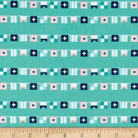 Riley Blake Seaside Flags Teal