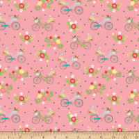 Riley Blake Vintage Adventure Bicycle Pink