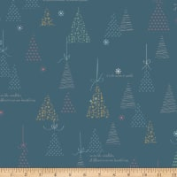 Riley Blake Winter Tales Tree Blue