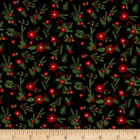 Riley Blake Christmas Delivery Floral Black