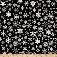 Riley Blake Christmas Delivery Snowflakes Black