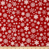 Riley Blake Christmas Delivery Snowflakes Red