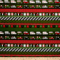 Riley Blake Christmas Delivery Stripe Green