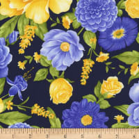 Timeless Treasures Angelica Main Floral Navy