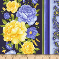 Timeless Treasures Angelica Floral Stripe Navy