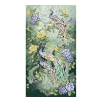 "Timeless Treasures Metallic Feathered Peacock 24"" Elegant Peacock Panel Sage"