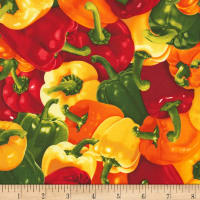 Timeless Treasures Veggie Bowl Peppers Multi